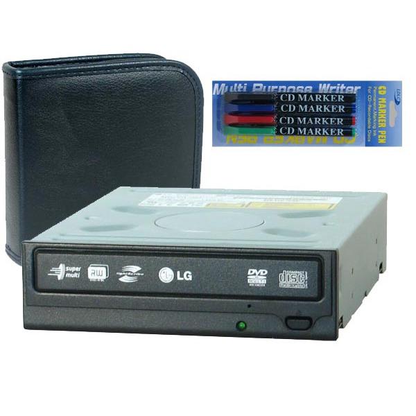Lecteur graveur LG GSA-H42L + pochette CD/DVD + marqueurs couleurs LG GSA-H42L LightScribe + pochette 24 CD/DVD + 4 marqueurs couleurs CD/DVD