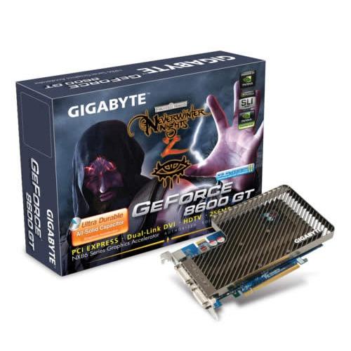 Carte graphique Gigabyte GV-NX86T256H Gigabyte GV-NX86T256H - 256 Mo TV-Out/Dual DVI - PCI Express (NVIDIA GeForce 8600 GT)