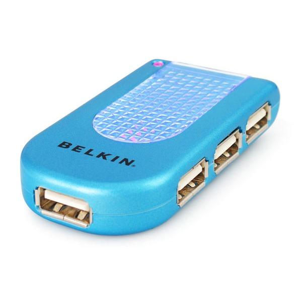 Hub USB / Firewire Belkin hub 4 ports USB 2.0 lumineux (coloris bleu) Belkin hub 4 ports USB 2.0 lumineux (coloris bleu)