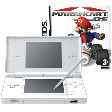 nintendo ds lite blanche jeu mario kart ds nintendo sur. Black Bedroom Furniture Sets. Home Design Ideas