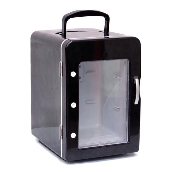 mini frigo 4 litres coloris noir porte transparente goodies g n rique sur. Black Bedroom Furniture Sets. Home Design Ideas