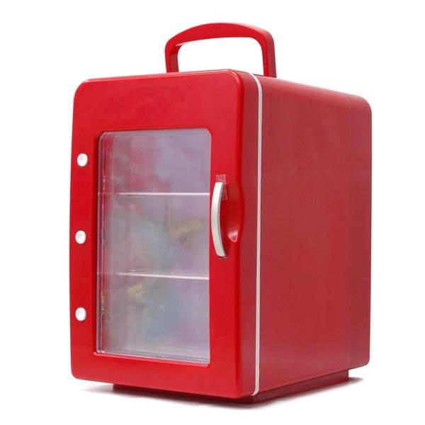 mini frigo 4 litres coloris rouge porte transparente goodies g n rique sur. Black Bedroom Furniture Sets. Home Design Ideas