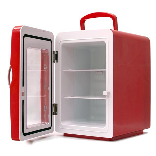 mini frigo 4 litres coloris rouge porte transparente goodies g n rique sur. Black Bedroom Furniture Sets. Home Design Ideas