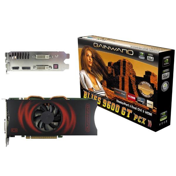 Carte graphique Gainward Bliss 9600 GT Golden Sample Gainward Bliss 9600 GT Golden Sample - 512 Mo Dual-DVI/HDMI/DisplayPort - PCI Express (NVIDIA GeForce 9600 GT)