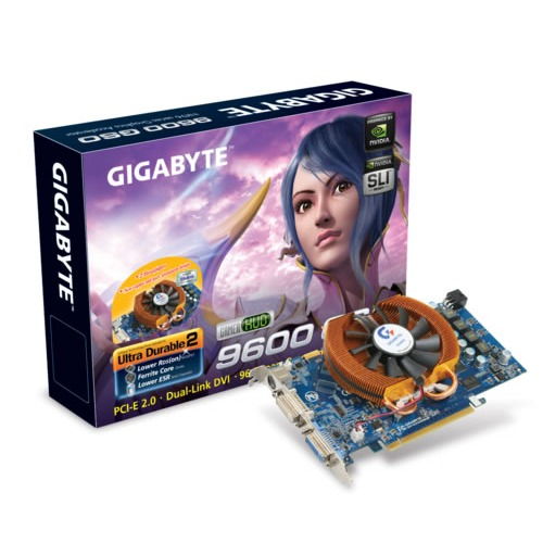 Carte graphique Gigabyte GV-NX96G384H Gigabyte GV-NX96G384H - 384 Mo TV-Out/Dual DVI - PCI Express (NVIDIA GeForce 9600 GSO)