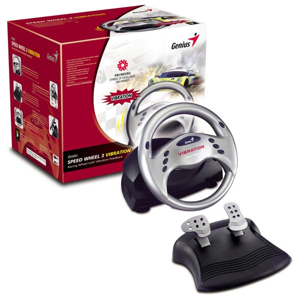 genius speedwheel 3 vibration volant pc genius sur. Black Bedroom Furniture Sets. Home Design Ideas