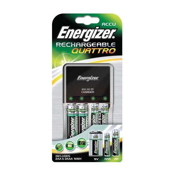 energizer chargeur quattro avec 4 piles rechargeables pile chargeur energizer sur. Black Bedroom Furniture Sets. Home Design Ideas
