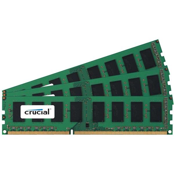 Mémoire PC Crucial 6 Go (3x 2Go) DDR3 1066 MHz ECC Registered Crucial 6 Go (Kit 3x 2 Go) DDR3-SDRAM PC8500 ECC Registered CL7 - CT3KIT25672BB1067S (garantie 10 ans par Crucial)