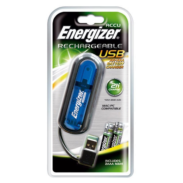 energizer chargeur usb avec 2 piles rechargeables ni mh aaa 900 mah coloris bleu pile. Black Bedroom Furniture Sets. Home Design Ideas