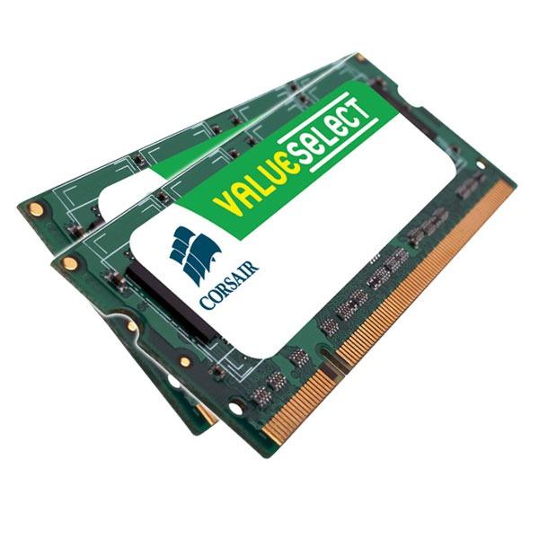 Mémoire PC portable Corsair Value Select SO-DIMM 8 Go (2x 4 Go) DDR2 800 MHz Kit Dual Channel RAM SO-DIMM DDR2 PC6400 - VS8GSDSKIT800D2 (garantie 10 ans par Corsair)