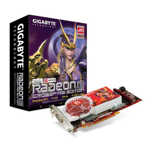 Carte graphique Gigabyte GV-RC19T512B-RH Radeon X1900 CrossFire Edition Gigabyte GV-RC19T512B-RH Radeon X1900 CrossFire Edition - 512 Mo Dual DVI - PCI Express (ATI Radeon X1900 XT)