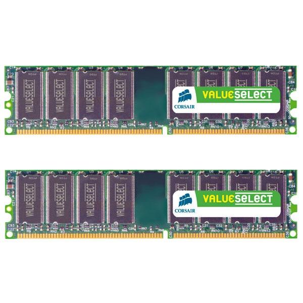 Mémoire PC Corsair Value Select 4 Go (2x 2 Go) DDR2 800 MHz CL5 Kit Dual Channel RAM DDR2 PC6400 - VS4GBKIT800D2 (garantie 10 ans par Corsair)
