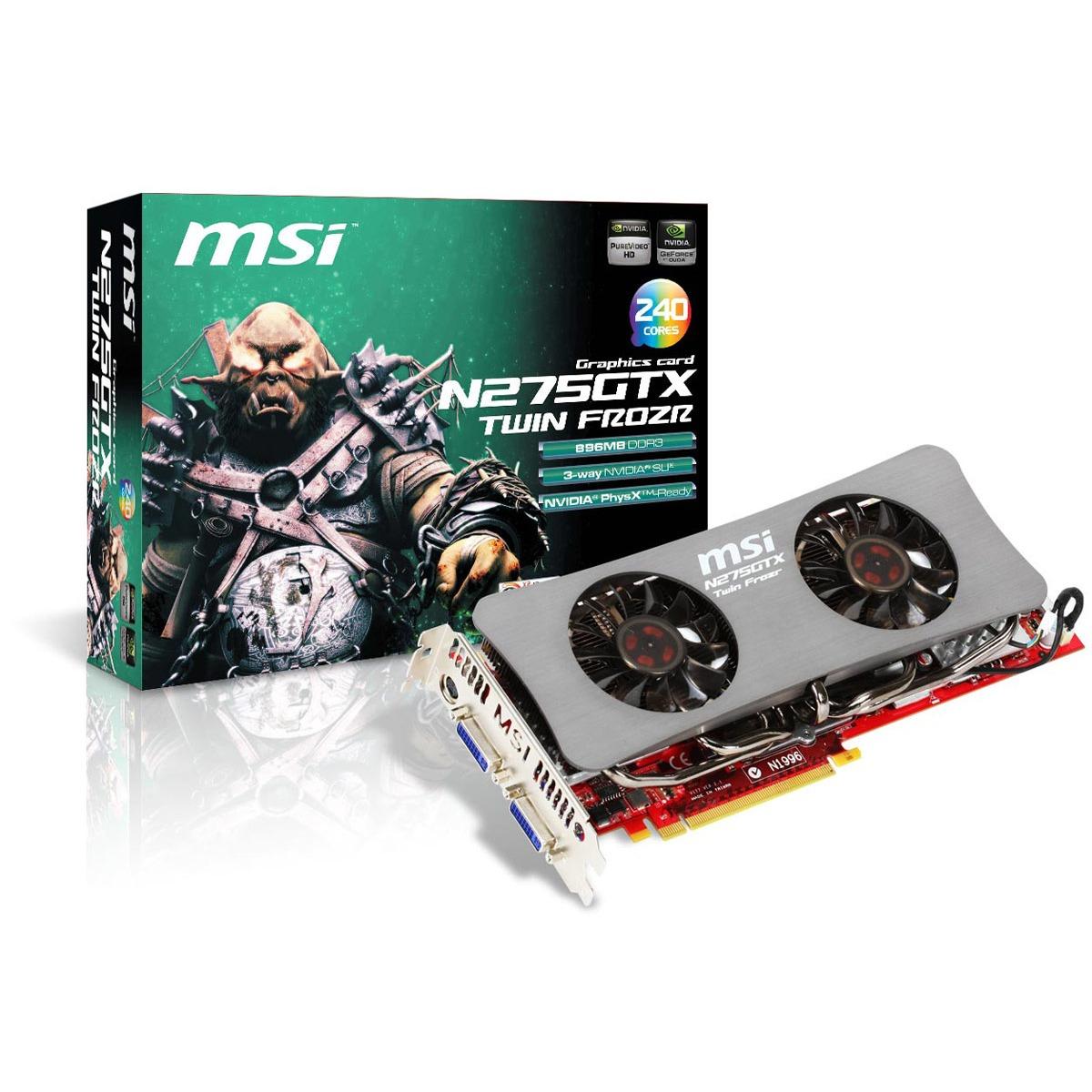 Carte graphique MSI N275GTX Twin Frozr OC MSI N275GTX Twin Frozr OC - 896 Mo TV-Out/Dual DVI - PCI Express (NVIDIA GeForce avec CUDA GTX 275)