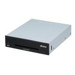 """Lecteur carte mémoire Akasa AK-ICR-06L Akasa AK-ICR-06L - Lecteur de cartes eID et Smart Card interne pour baie 3.5"""" (2 façades : noir et blanc)"""
