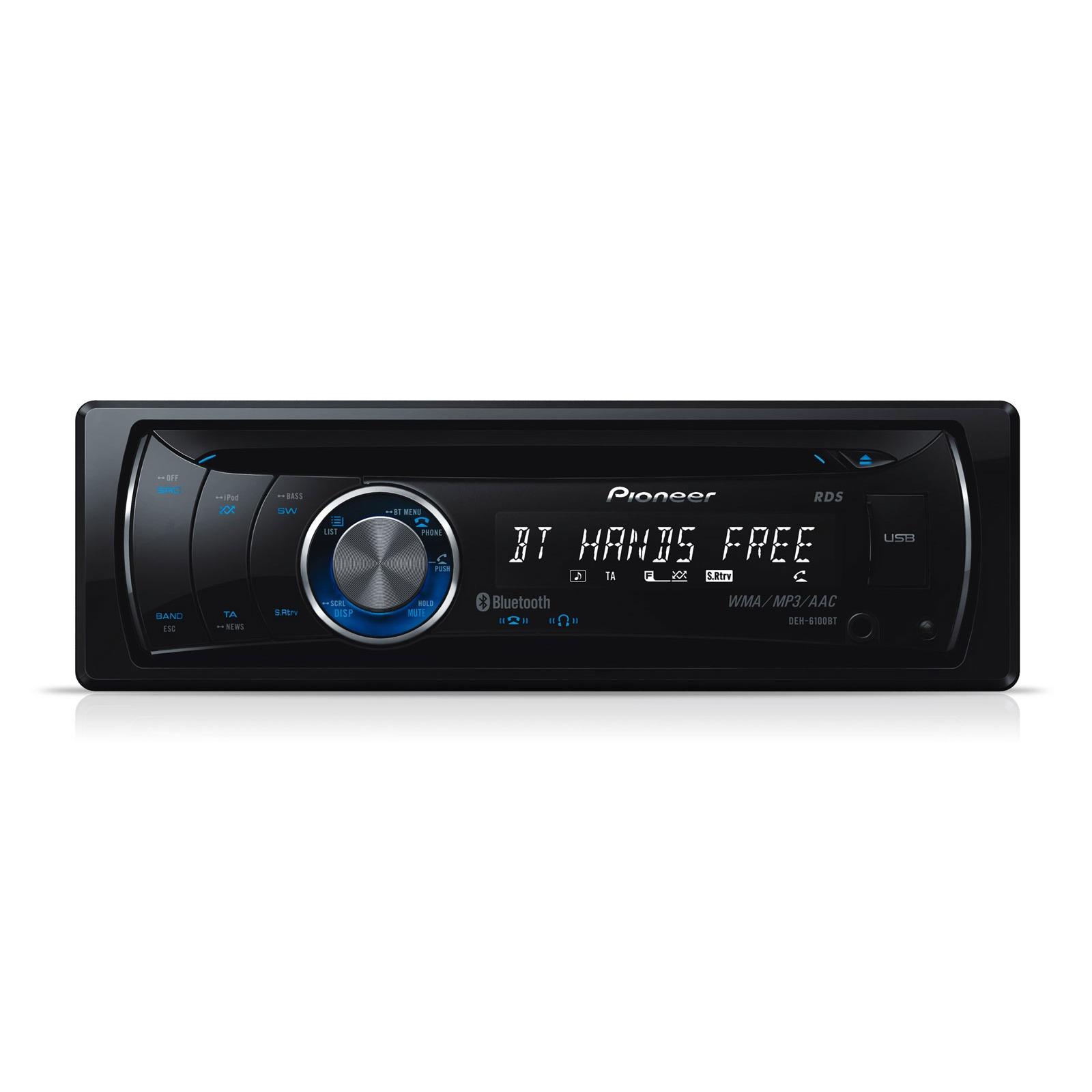 Autoradio Pioneer DEH-6100BT Pioneer DEH-6100BT - Autoradio CD Bluetooth iPod avec port USB et entrée auxiliaire
