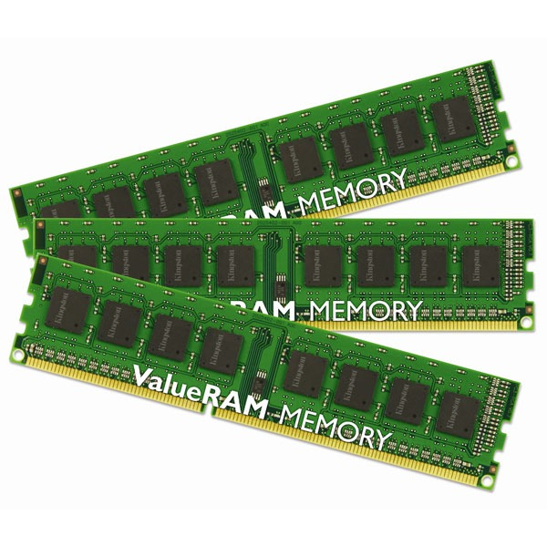 "Mémoire PC Kingston ValueRAM 3 Go (3x 1Go) DDR3 1333 MHz ECC Registered Kingston ValueRAM ""Triple Channel"" 3 Go (Kit 3x 1 Go) DDR3-SDRAM PC3-10600 ECC Registered CL9 - KVR1333D3S8R9SK3/3GI (garantie 10 ans par Kingston)"