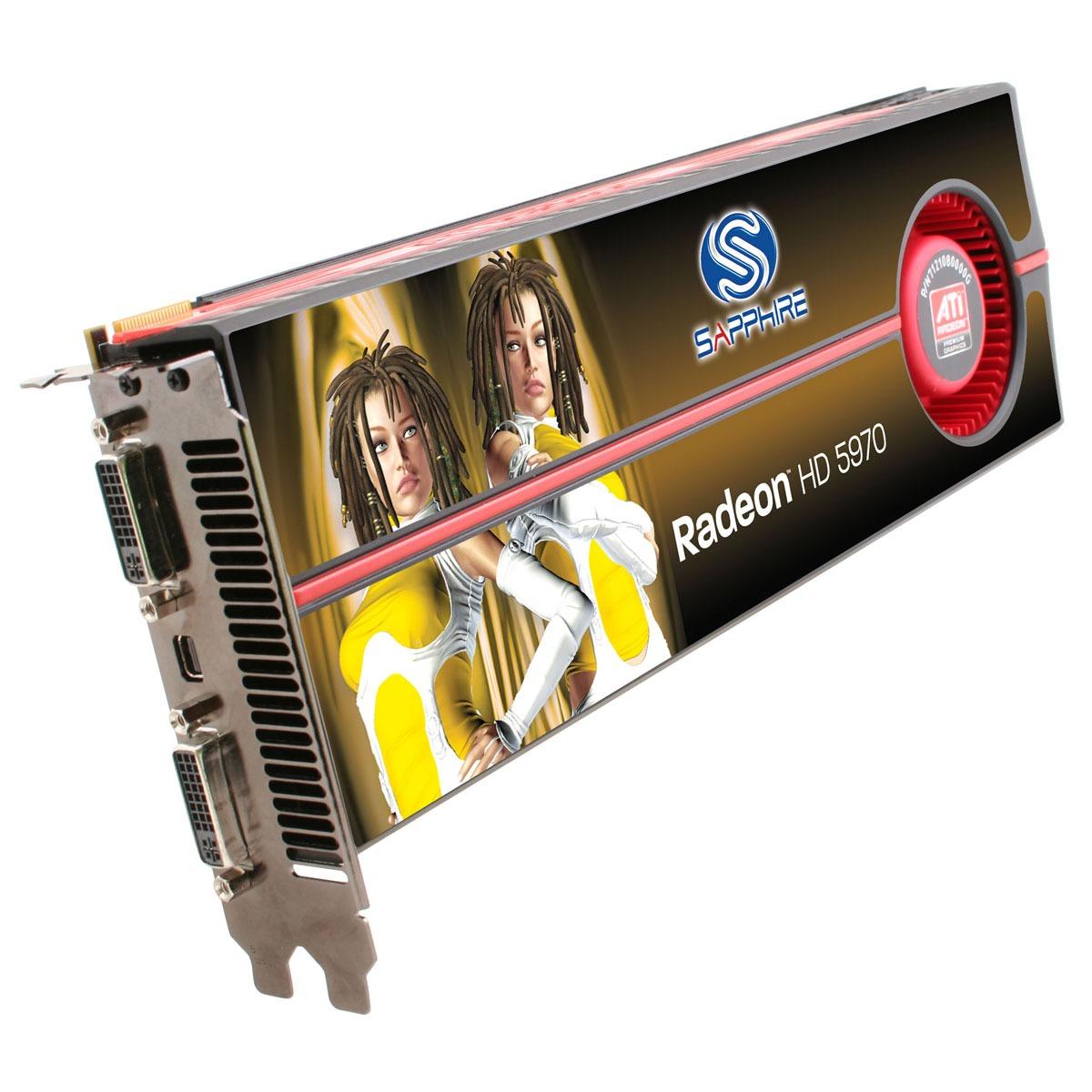 Carte graphique Sapphire Radeon HD 5970 2 Go Sapphire Radeon HD 5970 - 2 Go Dual DVI/Mini DisplayPort - PCI Express (ATI Radeon HD 5970)