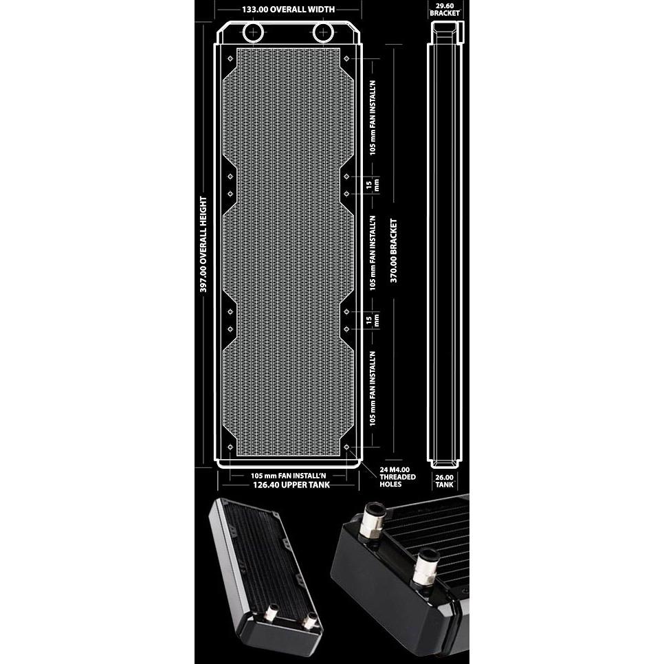 Watercooling Hardware Labs Black Ice GT Stealth 360 Hardware Labs Black Ice GT Stealth 360 - Radiateur triple pour 3 ventilateurs de 120 mm