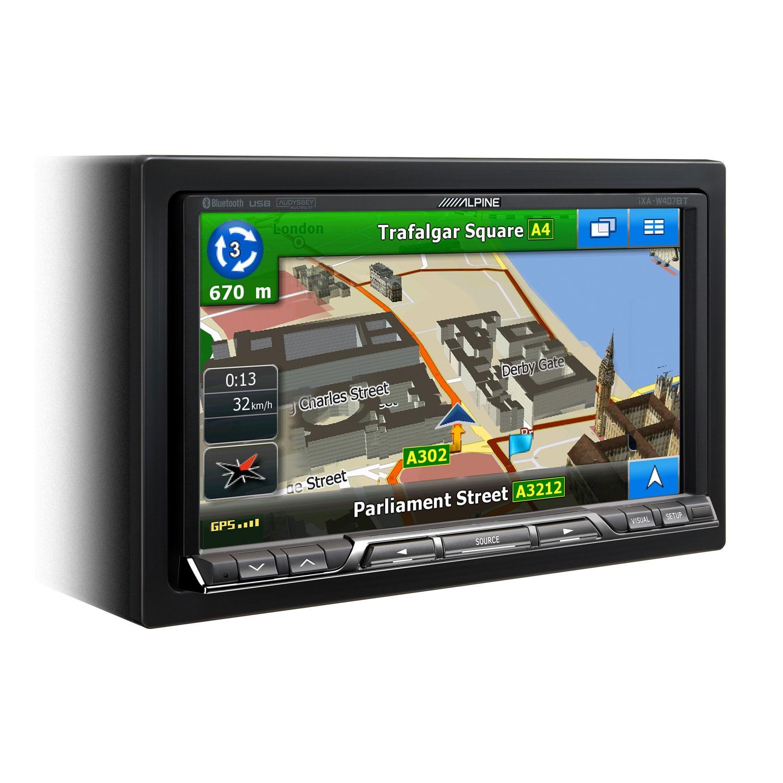 Autoradio Alpine iXA-W407BT Alpine iXA-W407BT - Lecteur multimédia 2DIN avec écran tactile 7 pouces, contrôle iPod/iPhone, Port USB et Bluetooth