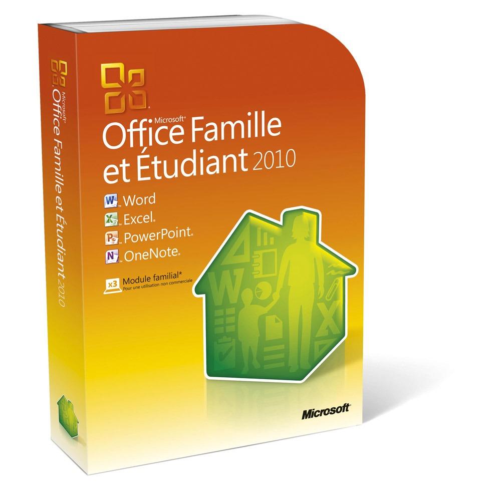 Logiciel bureautique Microsoft Office Famille et Etudiant 2010 - 3 PC (DVD) Version Boîte avec DVD (français, WINDOWS)