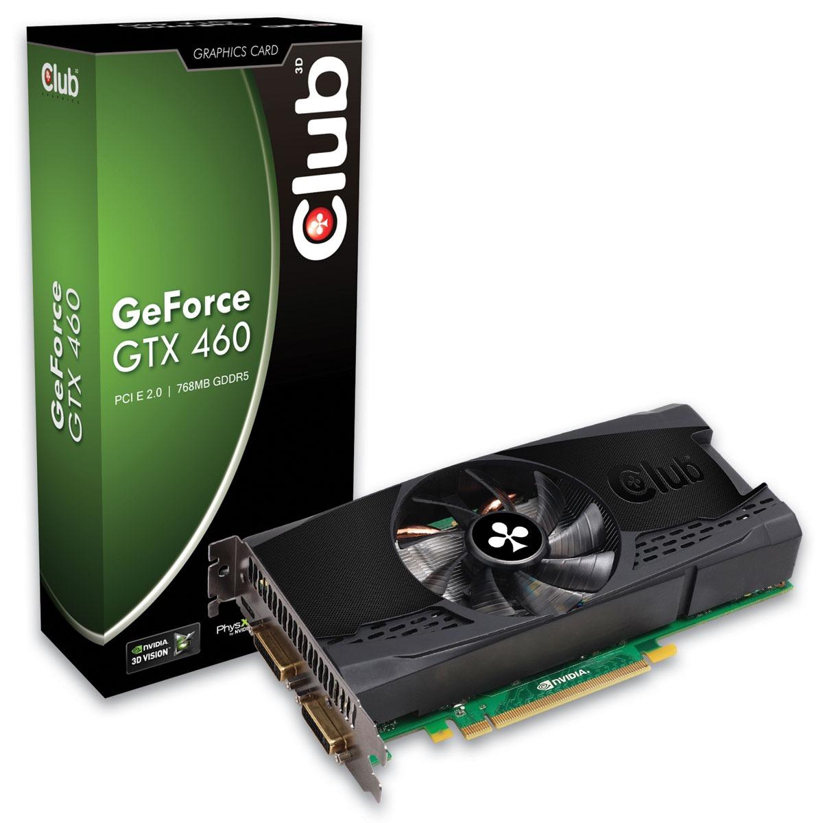 Carte graphique Club 3D GTX 460 768 MB Club 3D GTX 460 768 MB - 768 Mo Dual DVI/Mini HDMI - PCI-Express (NVIDIA GeForce avec CUDA GTX 460)