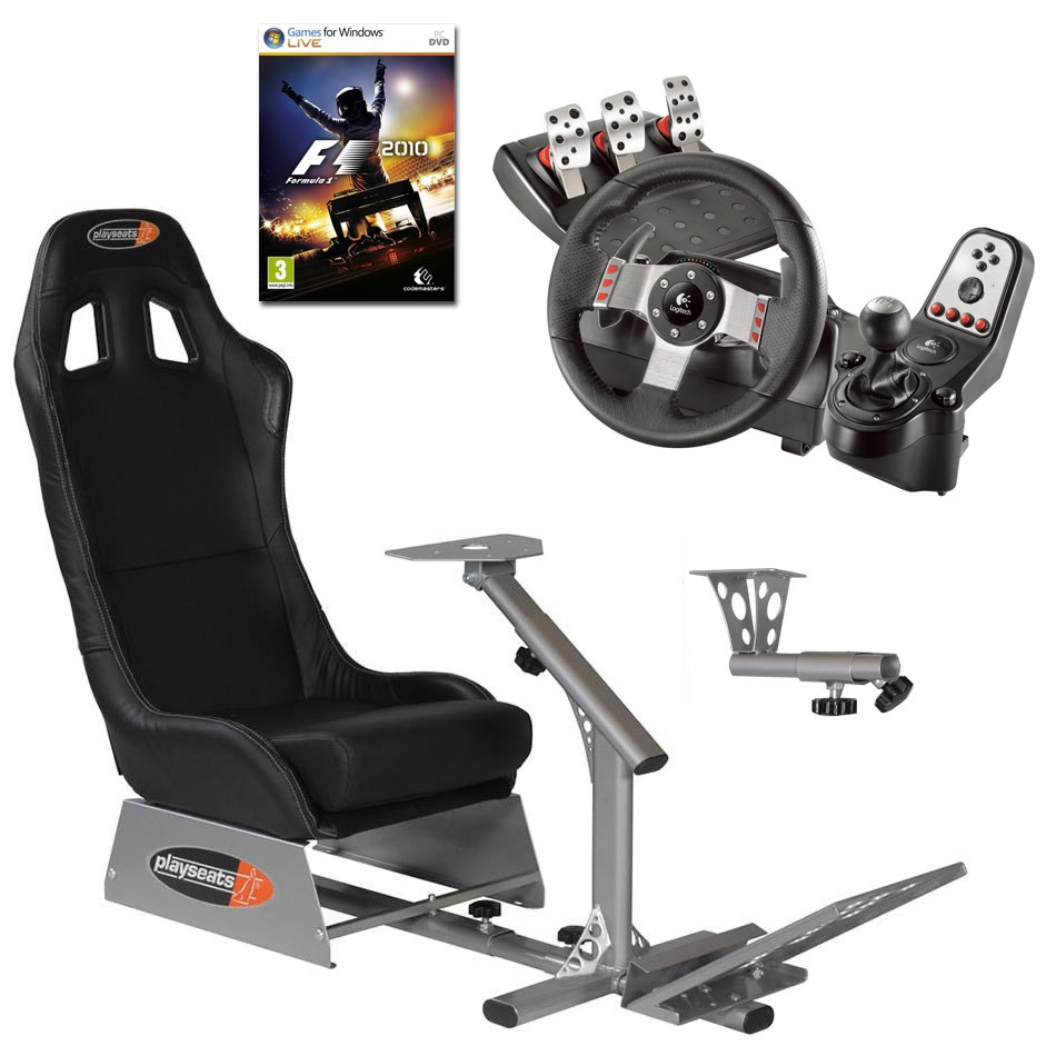 playseats evo seat slider gearshift holder volant logitech g27 jeu pc f1 2010 volant. Black Bedroom Furniture Sets. Home Design Ideas