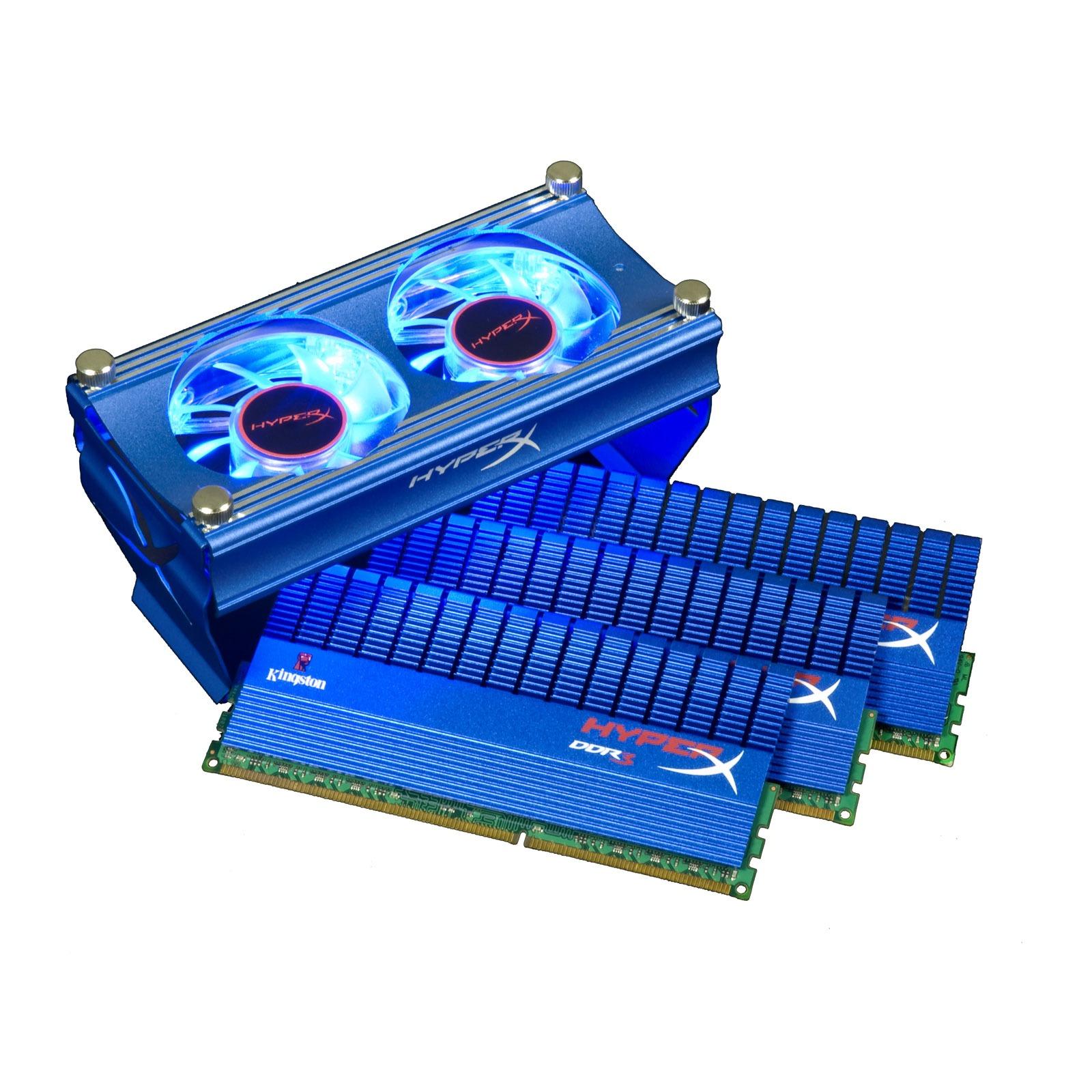 Mémoire PC Kingston XMP T1 6 Go (3x 2Go) DDR3 2250 MHz Kingston XMP T1 avec ventilateur 6 Go (kit 3x 2 Go) DDR3-SDRAM PC3-18000 CL9 - KHX2250C9D3T1FK3/6GX (garantie 10 ans par Kingston)