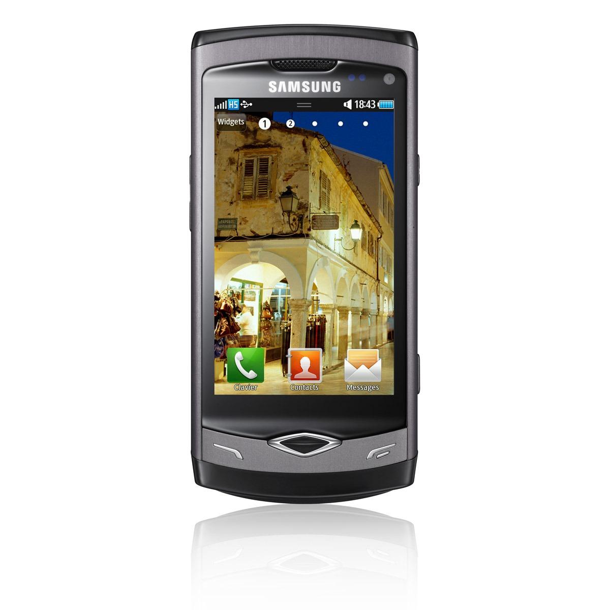 "Mobile & smartphone Samsung S8500 Wave Ebony Grey Smartphone 3G+ avec écran tactile 3.3"" sous Bada"