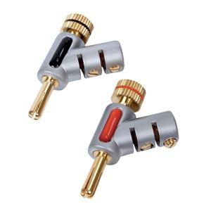 Câble haute qualité Fiches Banane coudées (par 2) Connecteurs coudés pour câble haut-parleur