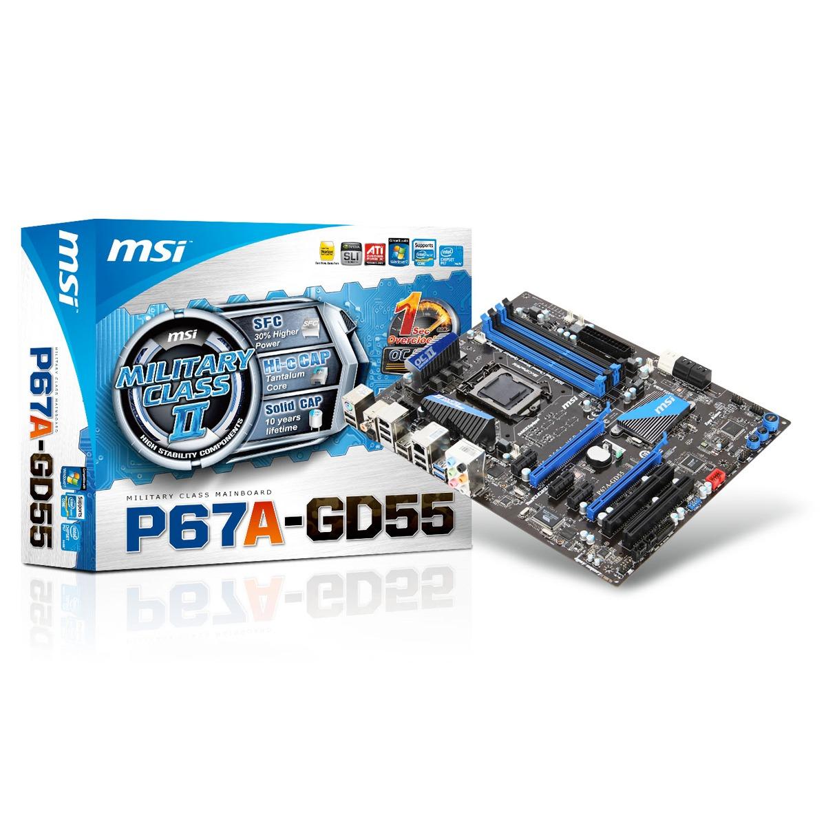 Carte mère MSI P67A-GD55 (Rev. B3) Carte mère ATX Socket 1155 Intel P67 Express Revision B3