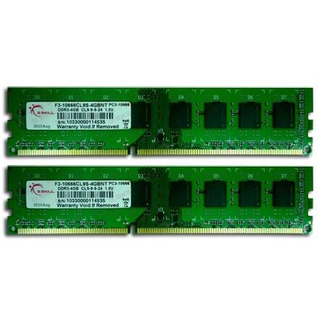 Mémoire PC G.Skill NT Series 8 Go (2x 4Go) DDR3 1333 MHz G.Skill NT Series 8 Go (kit 2x 4 Go) DDR3-SDRAM PC3-10600 - F3-10600CL9D-8GBNT (garantie 10 ans par G.Skill)