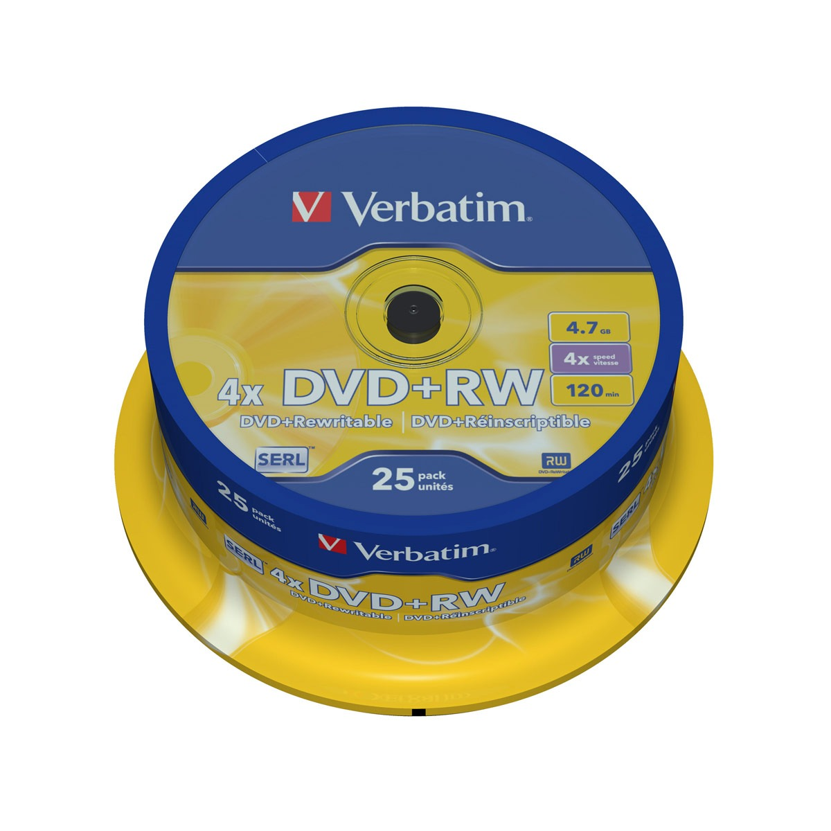 DVD Verbatim DVD+RW 4.7 Go certifié 4x (pack de 25, spindle) Verbatim DVD+RW 4.7 Go certifié 4x (pack de 25, spindle)