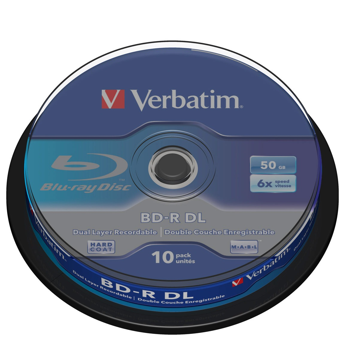 Blu-ray Verbatim BD-R DL 50 Go certifié 6x (pack de 10, spindle) Verbatim BD-R DL 50 Go certifié 6x (pack de 10, spindle)