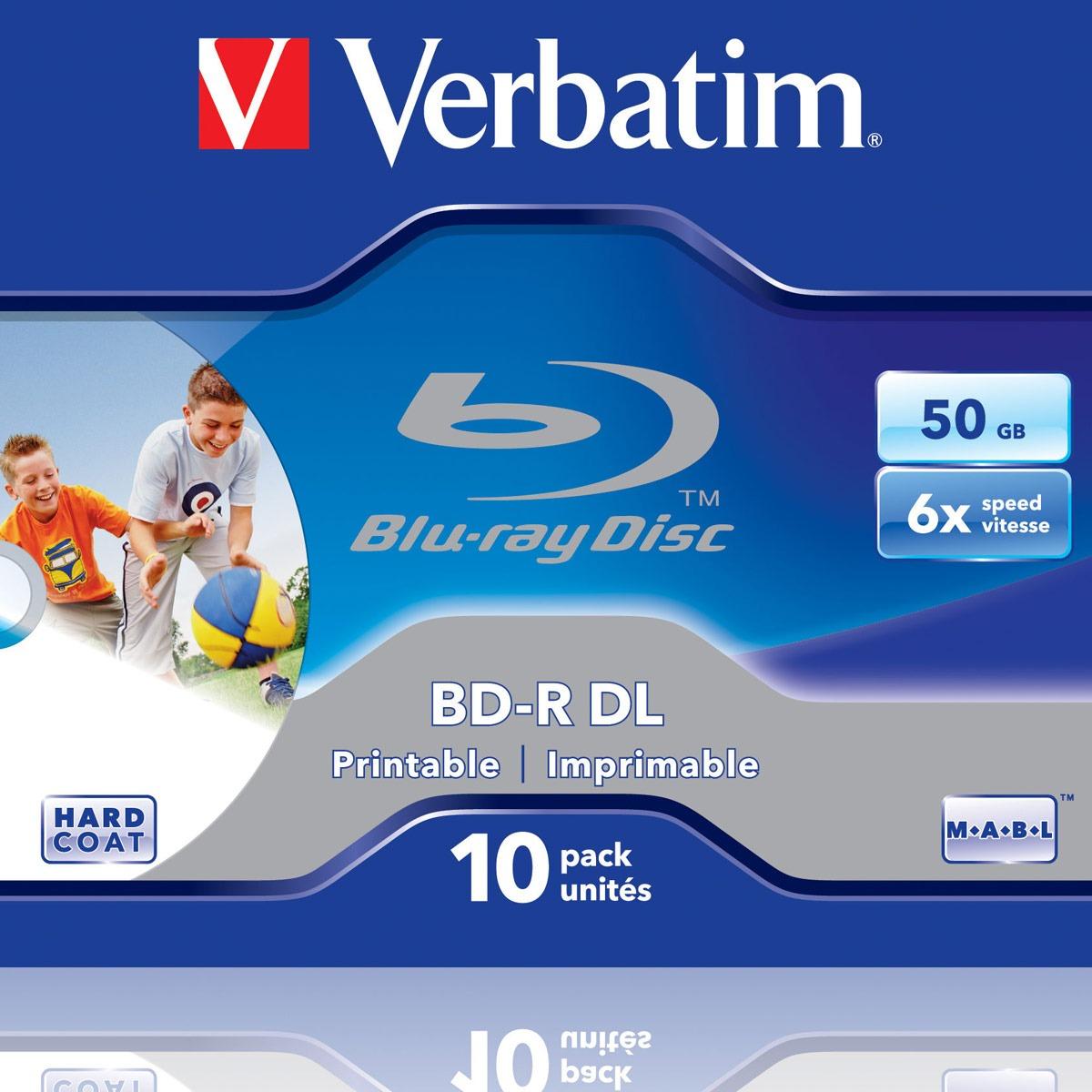 Blu-ray Verbatim BD-R DL 50 Go 6x imprimable (par 10, boîte) Verbatim BD-R DL 50 Go certifié 6x imprimable (pack de 10, boîtier standard)