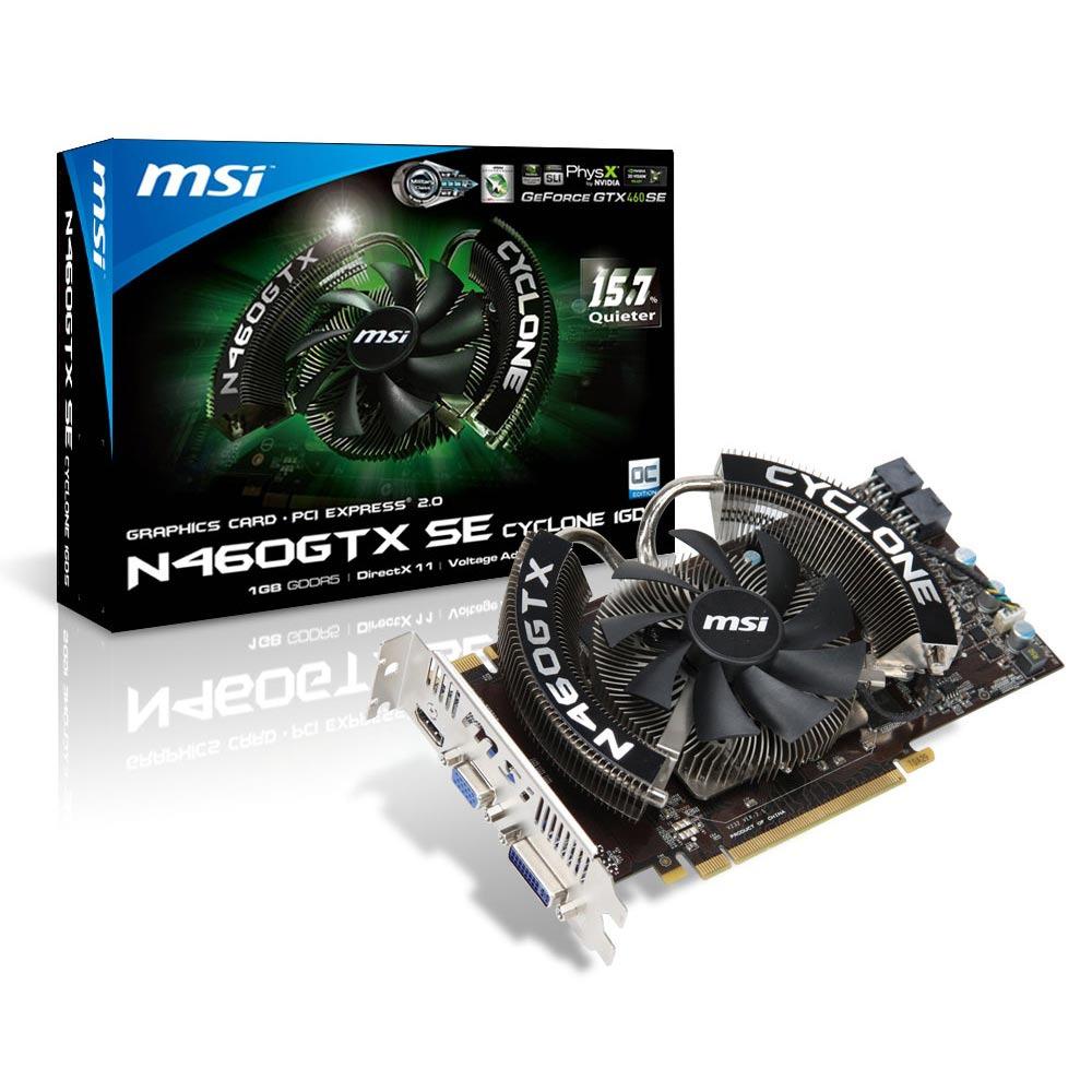 Carte graphique MSI N460GTX-SE Cyclone 1GD5/OC/MD MSI N460GTX-SE Cyclone 1GD5/OC/MD - 1024 Mo Dual DVI/HDMI - PCI Express (NVIDIA GeForce avec CUDA GTX 460 SE)