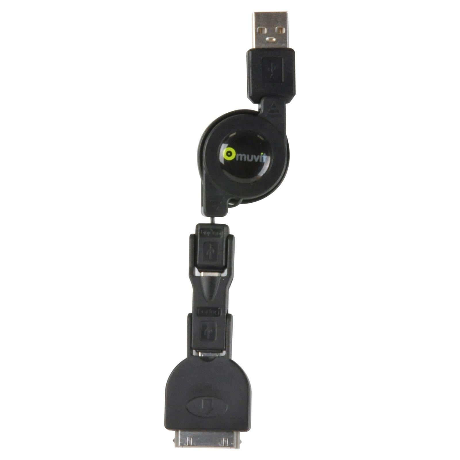 Câble & Adaptateur Muvit Triplug Triple câble Dock Connector vers USB avec enrouleur (pour iPod / iPhone / iPad)