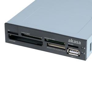 """Lecteur carte mémoire Akasa AK-ICR-07 Akasa AK-ICR-07 - Lecteur de cartes mémoire interne + port USB 2.0 pour baie 3"""" 1/2"""