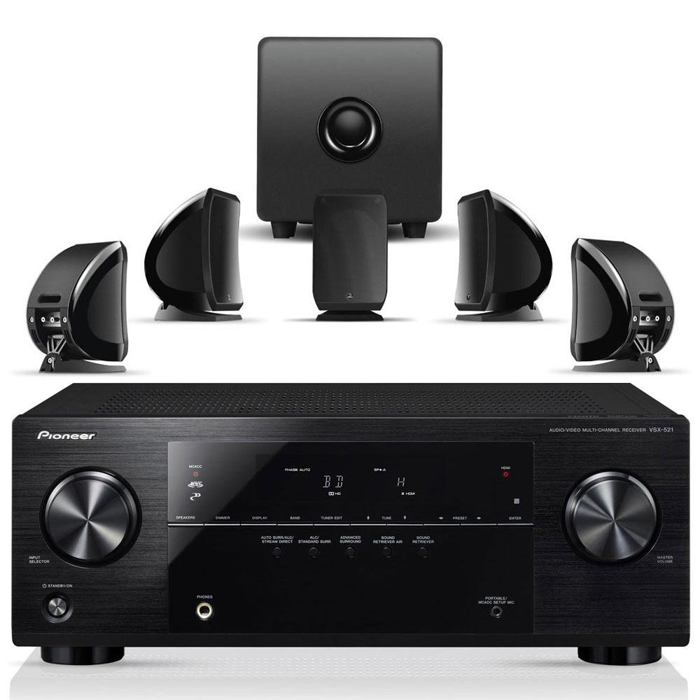 Ensemble home cinéma Pioneer VSX-521 Noir + Focal Sib & Cub 2 Jet Black Ampli-tuner Home Cinéma 3D Ready 5.1 avec 4 entrées HDMI 1.4 et décodeurs HD + Pack d'enceintes 5.1