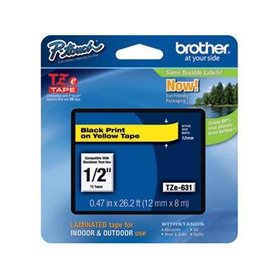Transfert thermique Brother TZE 631 Brother TZE 631 - Ruban 12 mm noir/jaune - 8 m