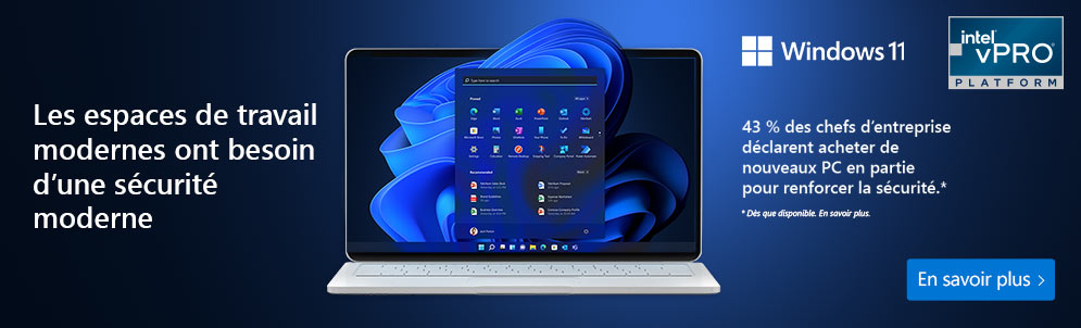 Windows 11 - Intel vPro : les pesaces de travail modernes ont besoin d'une sécurité moderne Voir les offres ›