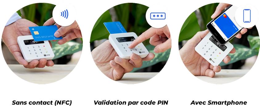 Sans contact (NFC)     Validation par code PIN     Avec Smartphone