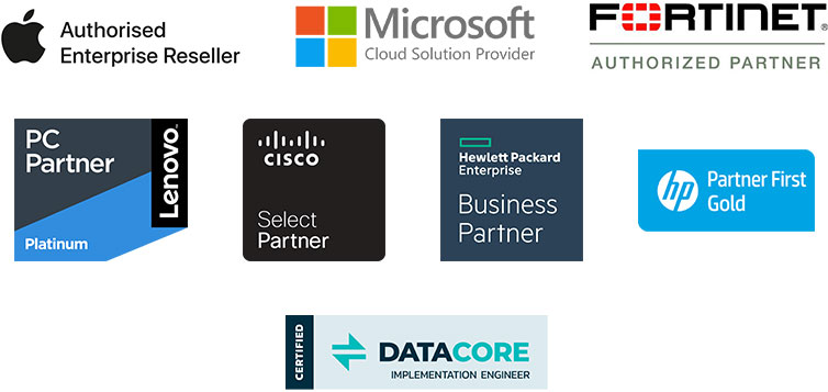 Apple, Microsoft, Lenovo, Datacor, HP, Cisco, Fortinet