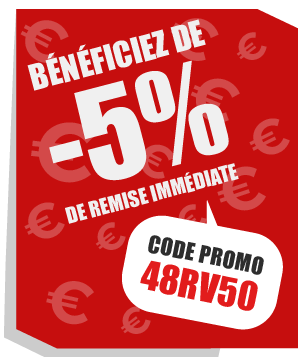 Bénéficiez de -5% de remise immédiate - Code promo : 48RV50