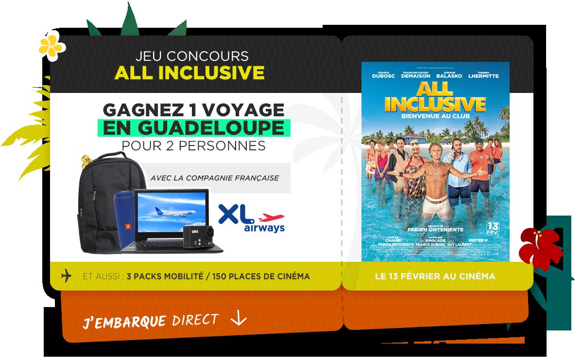 Gagnez un voyage pour la Guadeloupe avec le film ALL INCLUSIVE