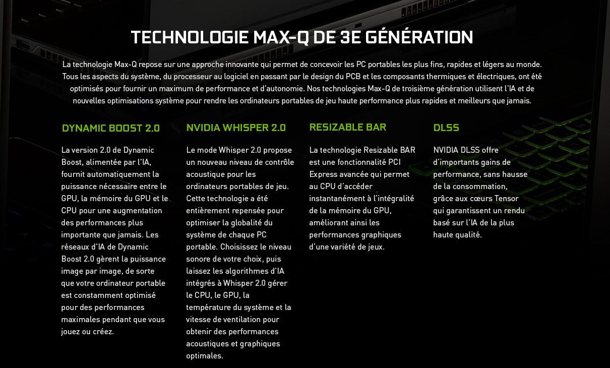 Technologie Max-Q de 3e génération