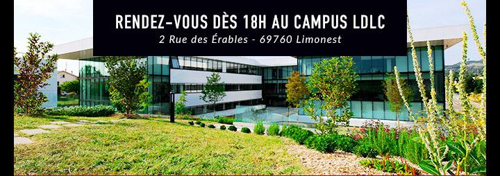 Rendez-vous au Campus LDLC - 2 rue des Erables - 69760 Limonest