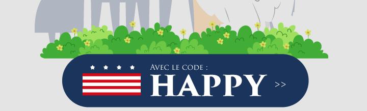 avec le code : HAPPY