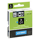 DYMO Cinta D1 estándar - negro/transparente 12 mm x 7 m