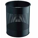 DURABLE Papelera redonda de metal con 15 litros de metal perforado en color negro.