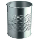 DURABLE Corbeille à papier ronde métal ajourée 15 litres coloris argent métallisé